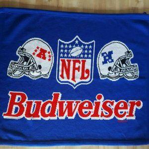 Vintage Budweiser NFL NFC AFC Blue Blanket
